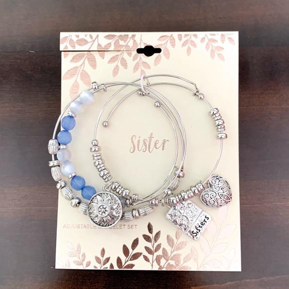 228edd7af81a4 Sister Adjustable Charm Bracelet Set NWT NWT